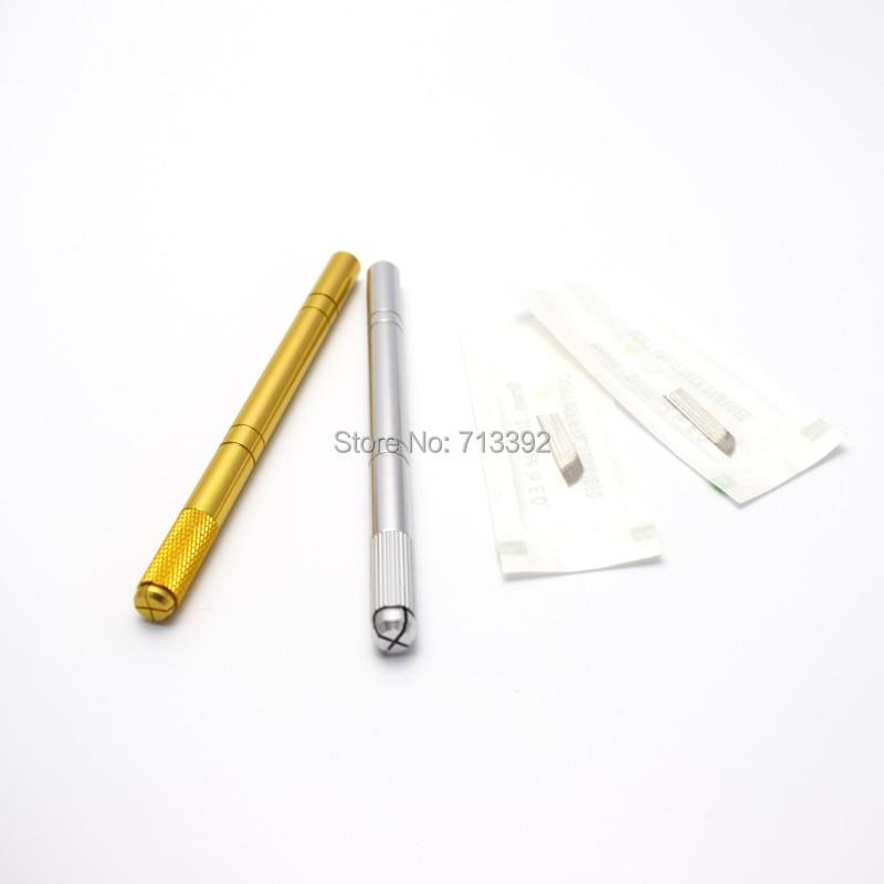 10Pcs 골드 / 은색 최신 영구 메이크업 수동 펜 메이크업 눈썹 입술 세제 펜
