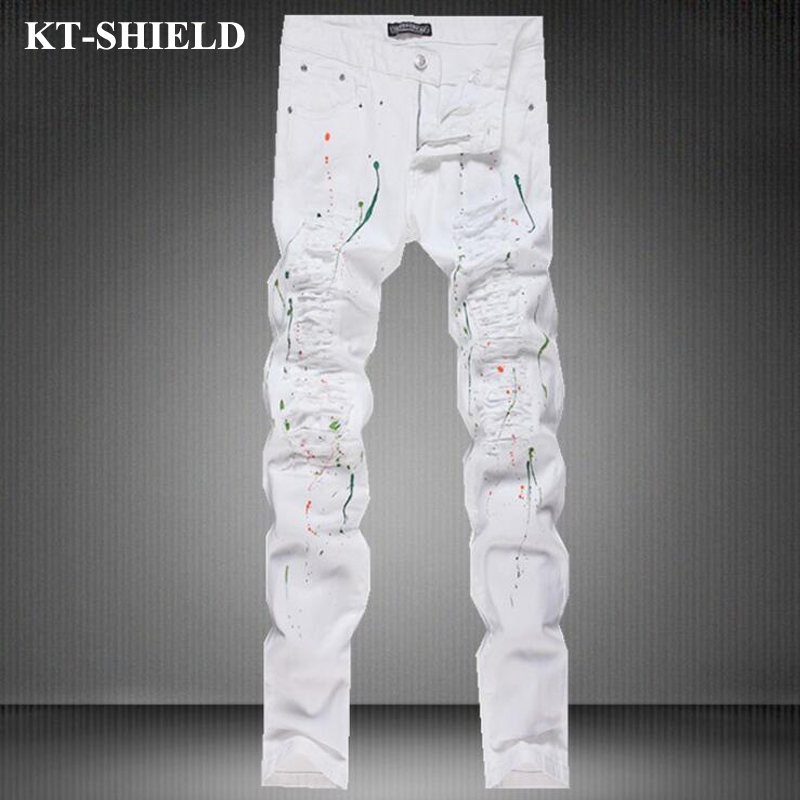 Ripped Jeans Men 2017 Famous Brand Biker Denim Trousers Slim Fit Vintage Distressed Jeans Pants 100%Cotton Mens Motorcycle Jeans 2017 fashion mens jeans straight denim biker jeans men trousers new famous brand superably jeans skull ripped pants u292