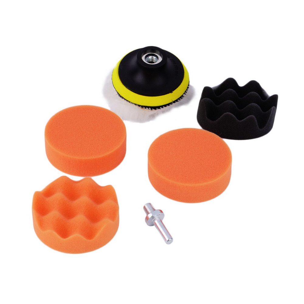 Hot Worldwide 7pcs/set 3 inch Buffing Pad Auto Car Polishing sponge Wheel Kit With M10 Drill Adapter Buffer Dropping Shipping~