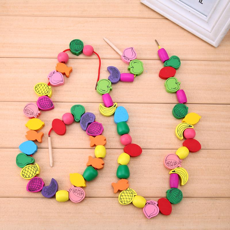 60pcs/lot Baby Wooden Toys For Children Fruit Bead Stringing Puzzle Toys Wood Beads Threading Learning Educational Toy For Kids
