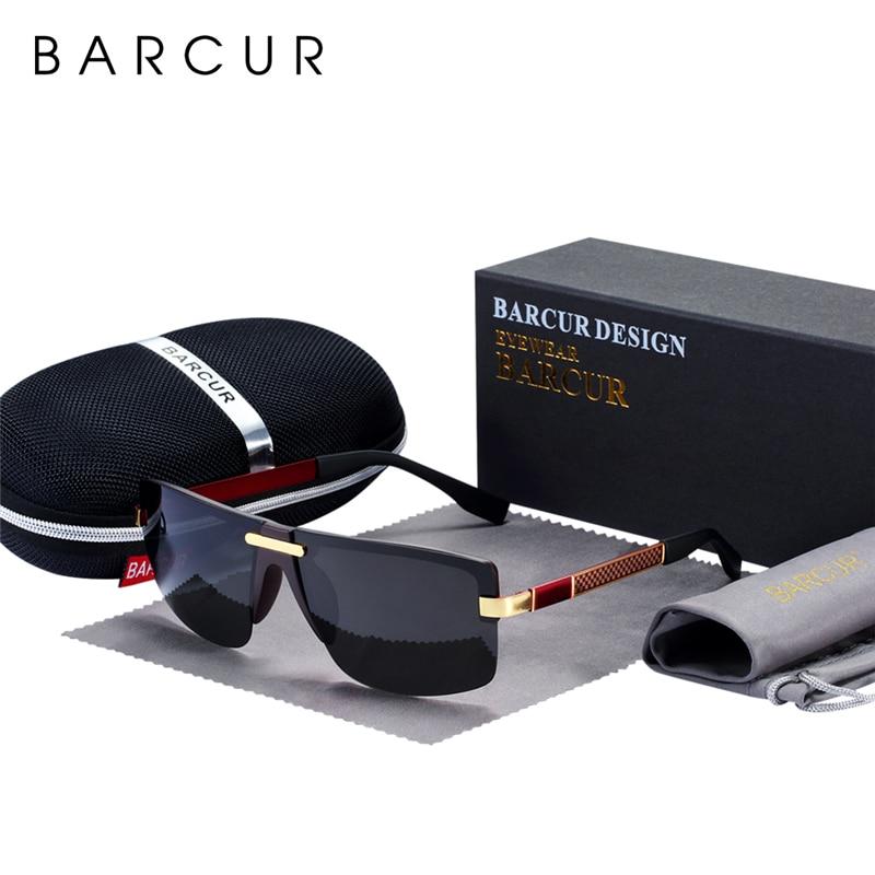 BARCUR поляризованные очки без оправы мужские солнцезащитные очки мужские роскошные брендовые дизайнерские очки Polarizado Espelhado