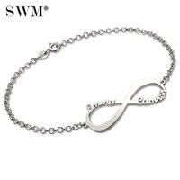 Personalized Infinity Symbol Pendant Name Bracelet Silver 925 Custom Letter Bracelets Pulseras Bransoletka Pulseira Feminina
