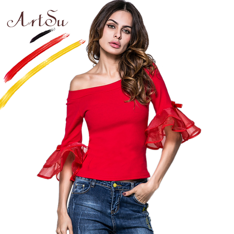 ArtSu Apparel T-Shirts Women Long Sleeve Top Sexy Off Shoulder Organza Ruffles Half Sleeve Tees T Shirt Autumn Bts ASTS20174