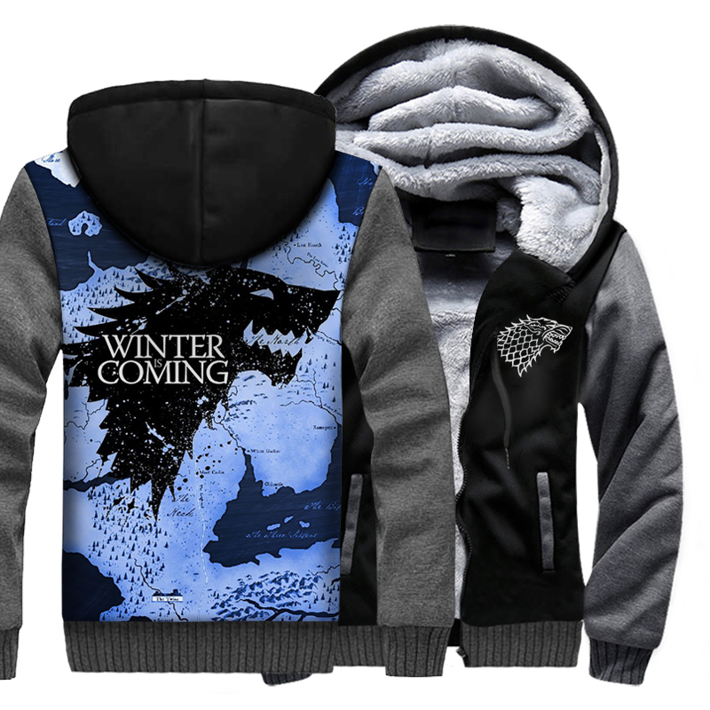 Game Of Thrones Raglan Hoodies Men House Stark Winter Is Coming Jackets 2019 Winter Men's Sweatshirts Hip Hop Streetwear 3D