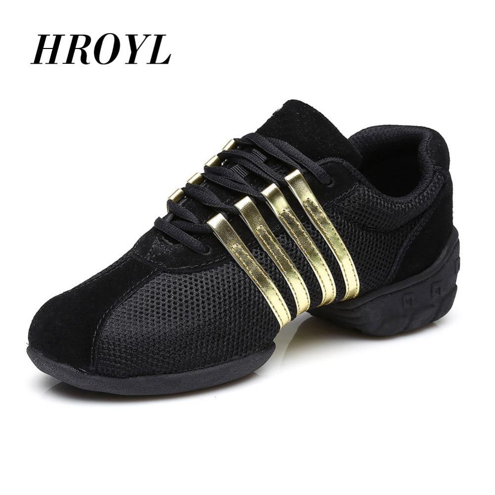 HROYL Sport Fonction Soft Semelle Breath chaussures de Danse Chaussures Sneakers Pour Femme/Hommes Pratique Chaussures De Danse Moderne Jazz Sneakers T01