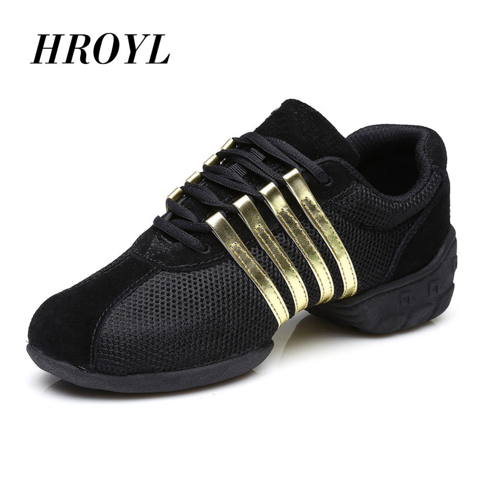 HROYL Sports Feature Soft Outsole Breath Dance Sko Sneakers For Woman / Men Practice Shoes Moderne Dance Jazz Sneakers T01