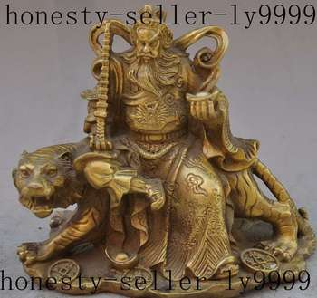 Christmas Chinese Brass copper Rich Mammon Money Wealth God yuanbao Ride Tiger Statue Halloween statue
