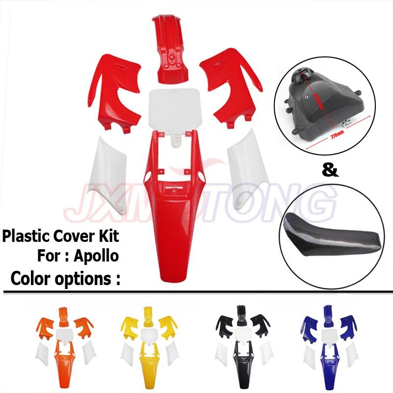 Kits de couverture en plastique et siège et réservoir de carburant carénage en plastique pour Apollo Dirt Bike Orion Pit Bike Motocross 110 125 140 150 200CC