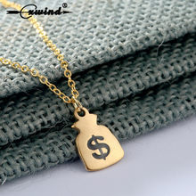 Cxwind New Arrival Women Stainless Steel Pendant Jewelry Charm USD Money Bag Necklaces collares mujer Choker femme(China)
