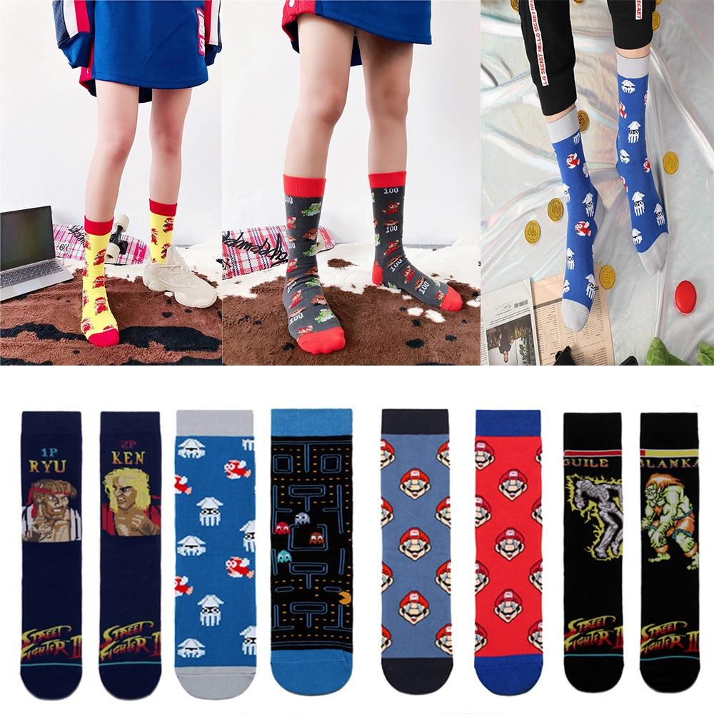 New Cotton Men Women's Crew Socks Funny Harajuku Cute Novelty Cartoon Sloth Anime Game Socks Christmas Skateboard Sock Gift