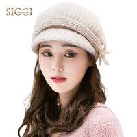 Women Winter Warm Knitted Berets Hats Solid Bow Peaked Casual Beanies Wool Fleece For Women SIGGI