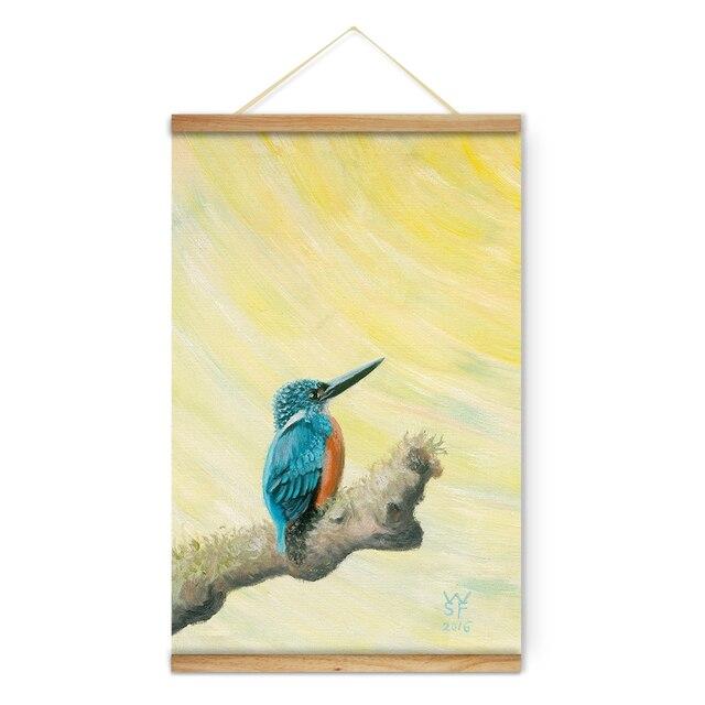 Mignon Animal Vert Espérons Oiseau Décoration Wall Art Photos Toile