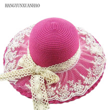 купить Lace Floral Brim Baby Girl Straw Sun Hats With Bowknot Sunhats for Kid Wide Flooppy Brim Beach Hat Children Summer Cap дешево