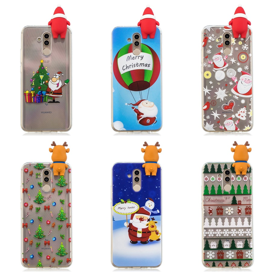 3D Christmas Tree Phone Case For Huawei Mate 20 Lite Santa Claus Snowman Xmas Cases For Huawei Mate20 Lite TPU Silicone Cover