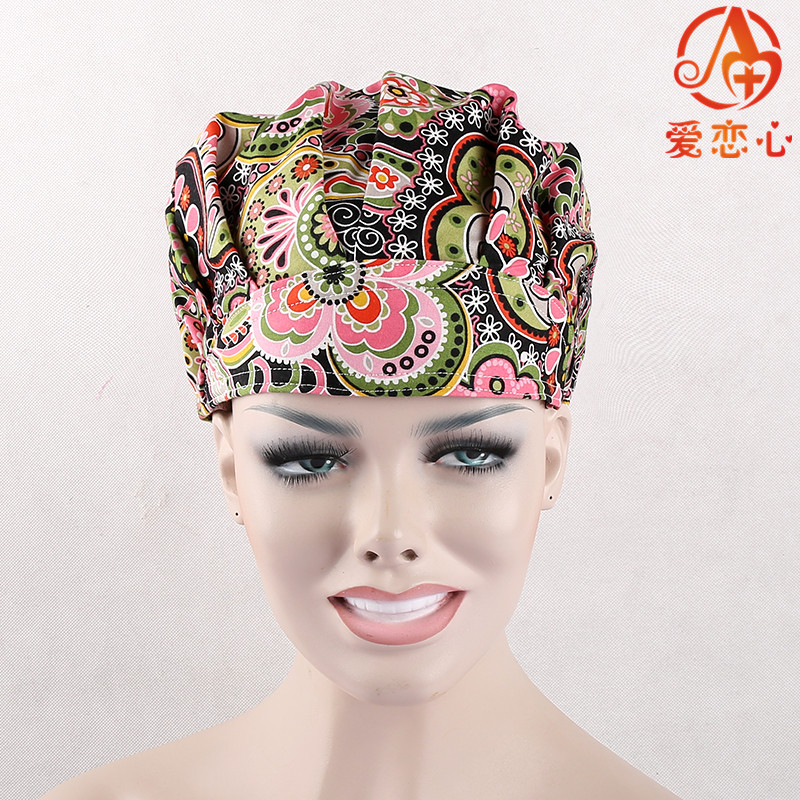 Ai Lianxin Surgical bouffant caps for long hair surgical caps 100% printed cotton caps casusl and comfortable ai lianxin surgical bouffant caps one size adjustable animal forest alx 192