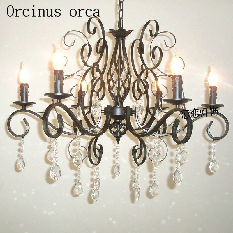European style iron black crystal chandelier living room dining room bedroom staircase balcony bronze lamp free shippingEuropean style iron black crystal chandelier living room dining room bedroom staircase balcony bronze lamp free shipping