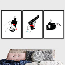 Hand Pistol Tears Bottle Wall Art Canvas Painting Nordic Posters And Prints Black White Wall Pictures For Living Room Wall Decor white tears