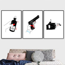 Hand Pistol Tears Bottle Wall Art Canvas Painting Nordic Posters And Prints Black White Wall Pictures For Living Room Wall Decor(China)