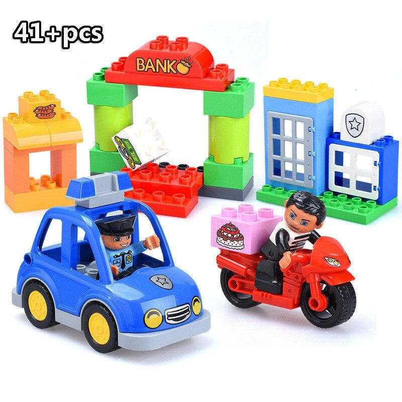 13-109pcs Large particles City Transport Team Car Model Series Building Block Bricks Compatible Duploe Toys for children Kids GIft (14)