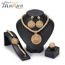 MuKun African Beads Jewelry Set Round Pendant Gold color Dubai Big Necklace Jewelry sets Nigerian Bridal wedding Jewelry 2018 недорого