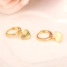 2 pairs Gold Heart drop Earrings Women/Girl,Love Trendy fashion Jewelry for African/Arab/Middle Eastern kids childrenbest gift(China)