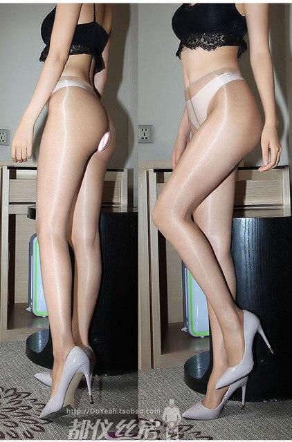 1D Oil Shine Close or Open Crotch Non-falling Pantyhose Sheer To Waist-  Sandal Toe DOYEAH 0258 5