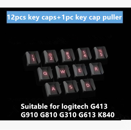12pcs/set Original New Key Caps For Logitech G413 Also Suitable For Logitech G910 G810 G310 G613 K840 Gaming Bump Keycaps