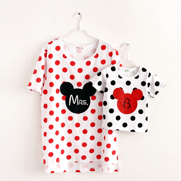 Plus Size Family Matching Outfits Mother Daughter Son Father Short Sleeve Cartoon Mouse Cotton T Shirt Family Look Tees