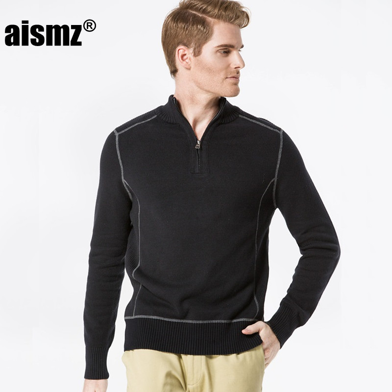 Pullover maglione uomo Aismz 100% cotone 2017 nuovo autunno inverno tempo libero pullover maglione moda verde militare di alta qualità AZ0008