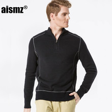 Aismz Men Sweater Pullovers 100% Cotton 2017 New Winter Autumn Leisure Pullover Sweater Fashion Army Green High Quality AZ0008