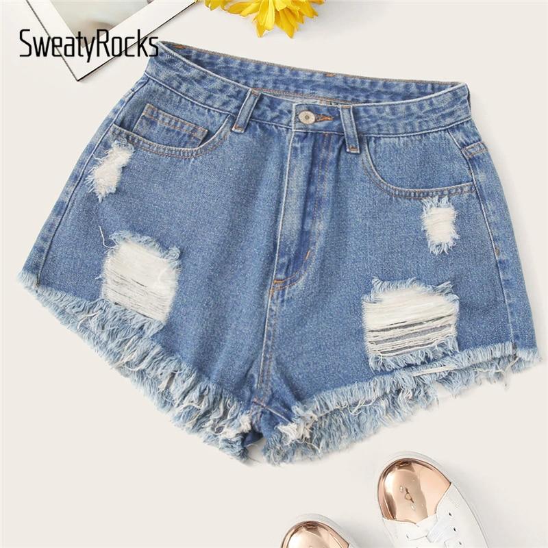 SweatyRocks Ripped Frayed Edge Denim Shorts Women Streetwear Casual Blue Shorts 2019 Fashion Summer Solid Button Fly Shorts