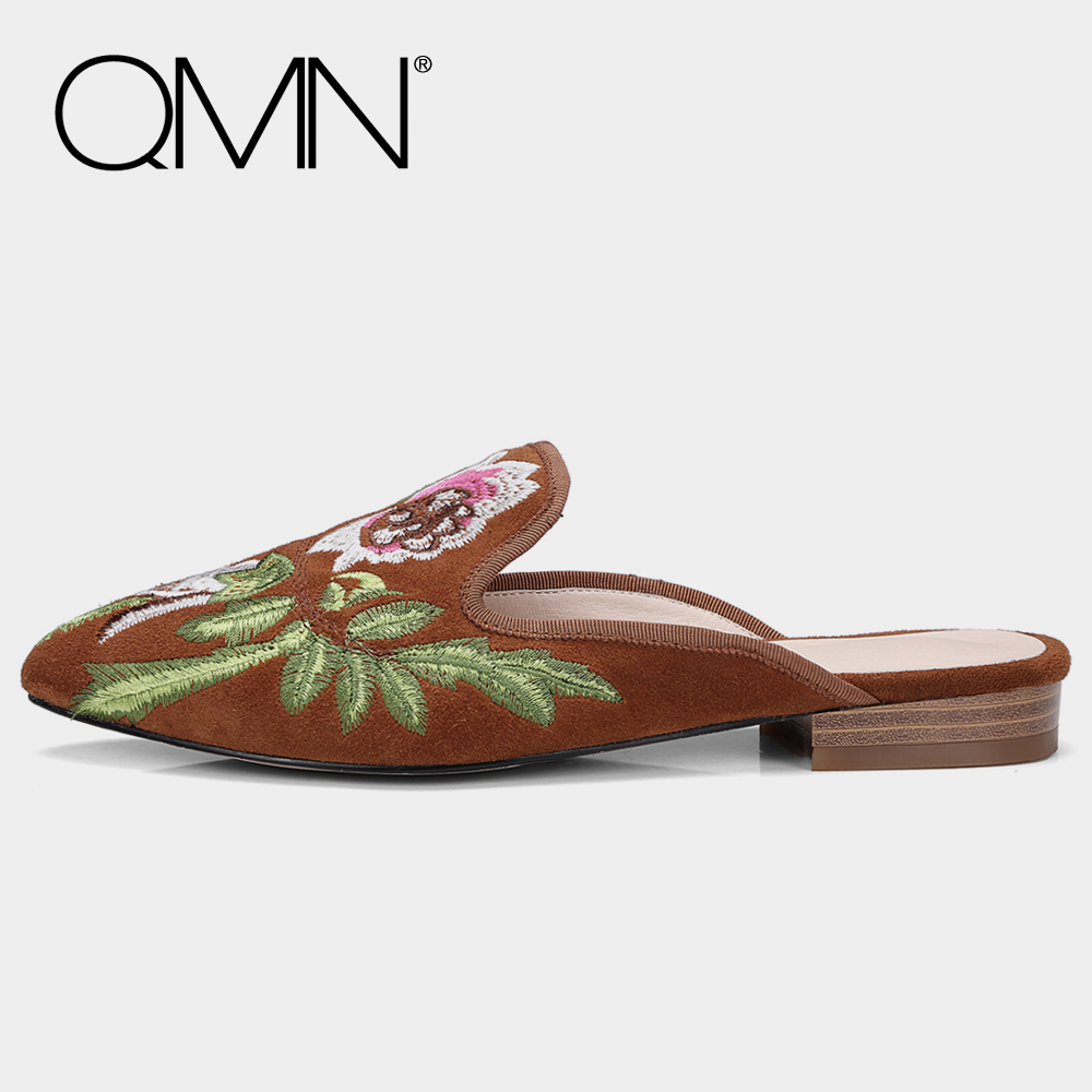 QMN genuine leather women slippers Women Natural Suede Summer Mules Slip On Chinese Embroidered Shoes Woman Leather Slides 34-40 qmn women crystal embellished natural suede brogue shoes women square toe platform oxfords shoes woman genuine leather flats