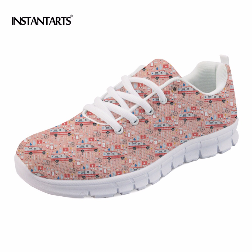 INSTANTARTS Hot Nurse Print Women Sneaker Shoes Medical Bus Pattern Woman Flat Shoes Fashion Breathable Mesh Shoes Ladies Female instantarts fashion women flats cute cartoon dental equipment pattern pink sneakers woman breathable comfortable mesh flat shoes