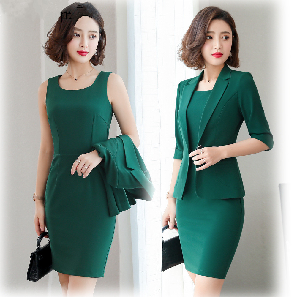 Ladies Wear Dress Suits 3/4 Sleeve Slim Blazer+Sleeveless Dress 2 Piece Set