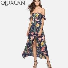 QIUXUAN Summer Floral Print Off Shoulder Dress Fashion Flutter Sleeve Wrap Front High Low Maxi Dress Sweetheart High Waist Dress