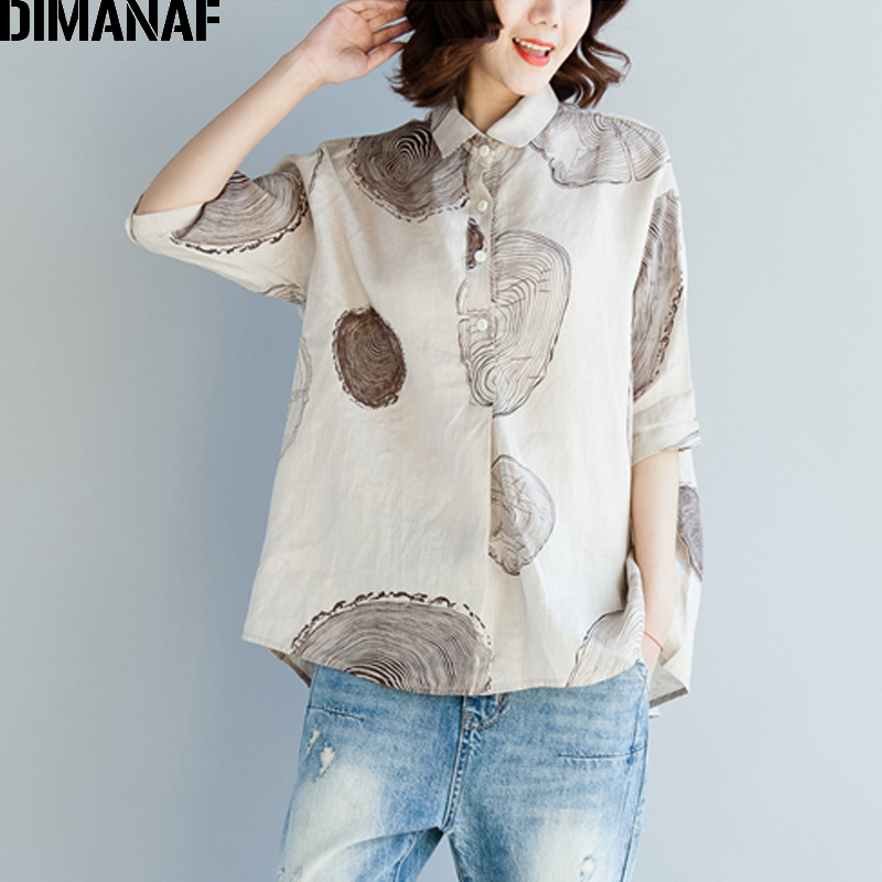 DIMANAF Women Blouse Shirts Plus Size Female Clothing Print Paisley Cotton Thin Basic Tops Loose Half Sleeve Blouse Summer 2018 1
