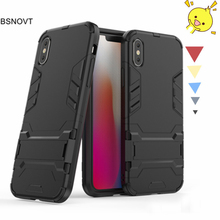 For Iphone XS Case Soft Silicone + Plastic Kickstand Bumpe Anti-knock Phone Cover Funda BSNOVT