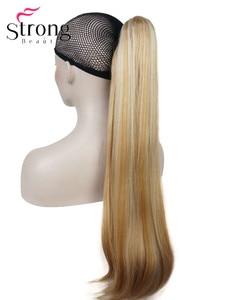 Image 3 - StrongBeauty długa prosta klamra kucyk Hairpiece przedłużanie włosów 26 cali syntetyczna odporność na ciepło wybór kolorów