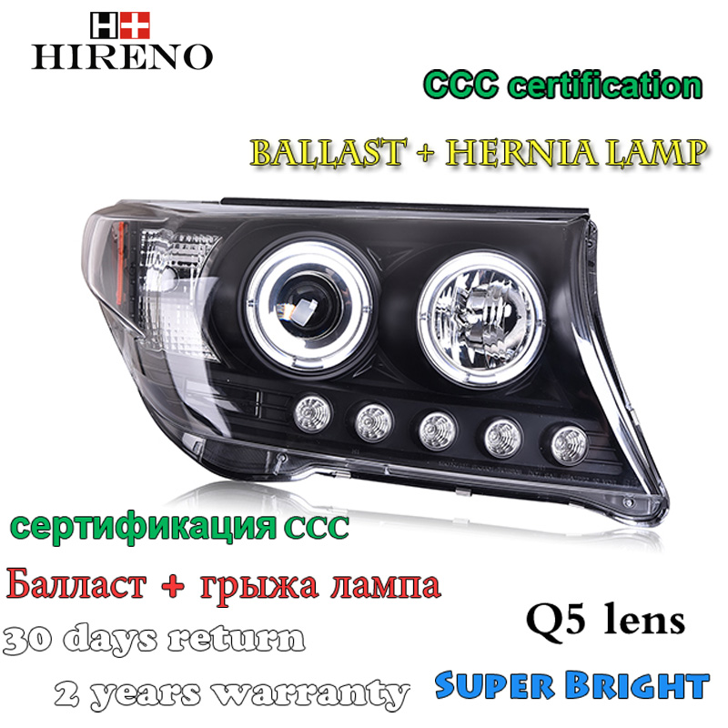 Hireno Car styling Headlamp for 2008-2012 Toytoa LAND CRUISER Headlight Assembly LED DRL Angel Lens Double Beam HID Xenon 2pcs hireno car styling headlamp for 2007 2011 honda crv cr v headlight assembly led drl angel lens double beam hid xenon 2pcs