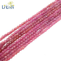 Lii Ji Gemstone Natural Red Ruby Approx 4mm Faceted Round Beads 39cm For DIY Jewelry Making