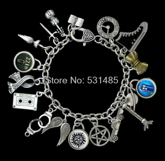 6pcs Superwholock Themed Charm Bracelet, Supernatural, Dr Who, Sherlock, Doctor Who