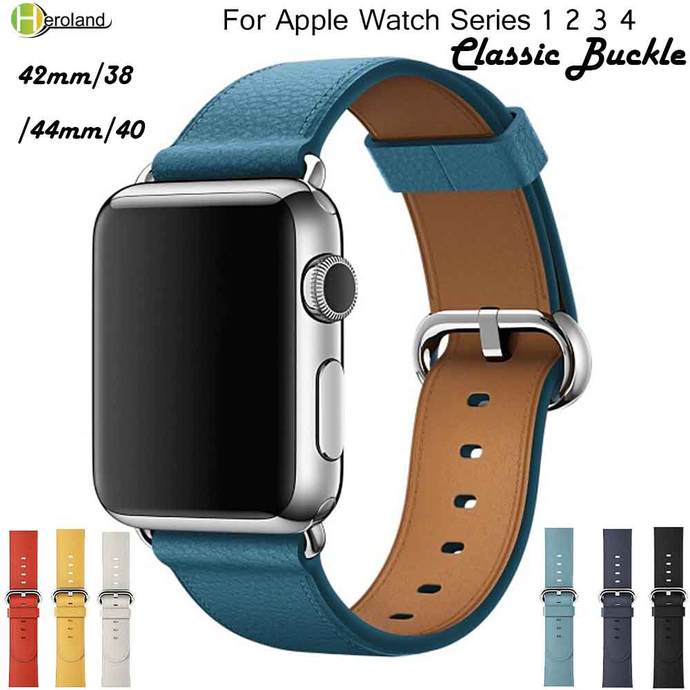 High Quality Leather WatchBand For Apple Watch Series 4 3 2 1 Strap For Iwatch 38/ 42mm 40/44mm Sport Bracelet Smart Wrist Band