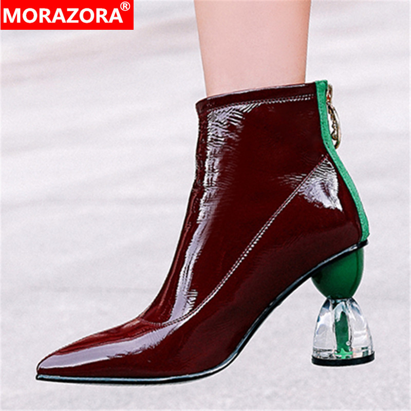 MORAZORA 2020 new fashion high heels party shoes women ankle boots patent leather autumn boots zip unique Short Boots woman-in Ankle Boots from Shoes