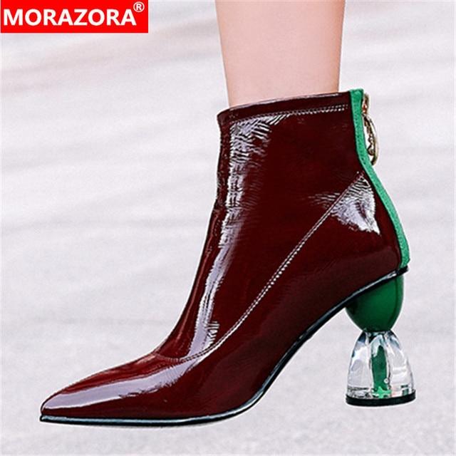 MORAZORA 2020 جديد كعوب عالية على الموضة أحذية الحفلات النساء حذاء من الجلد براءات الاختراع والجلود الخريف الأحذية البريدي فريد أحذية بوت قصيرة امرأة