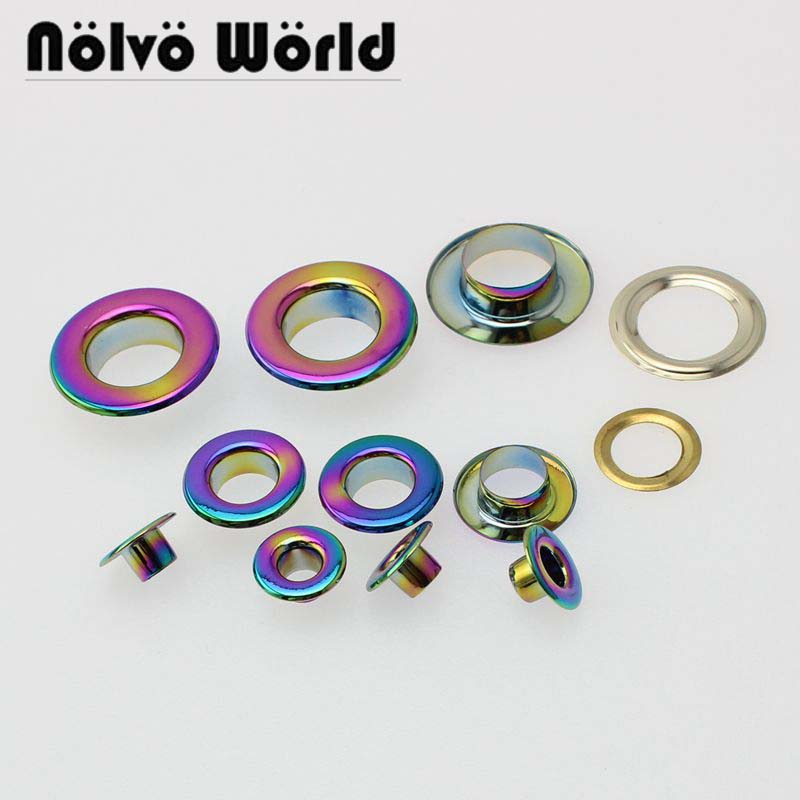 20-100pcs 5mm 8mm 10mm 12mm Rainbow Pushed Grommet Bags Metal Fitting Hardware Accessory Pressed Round Eyelets