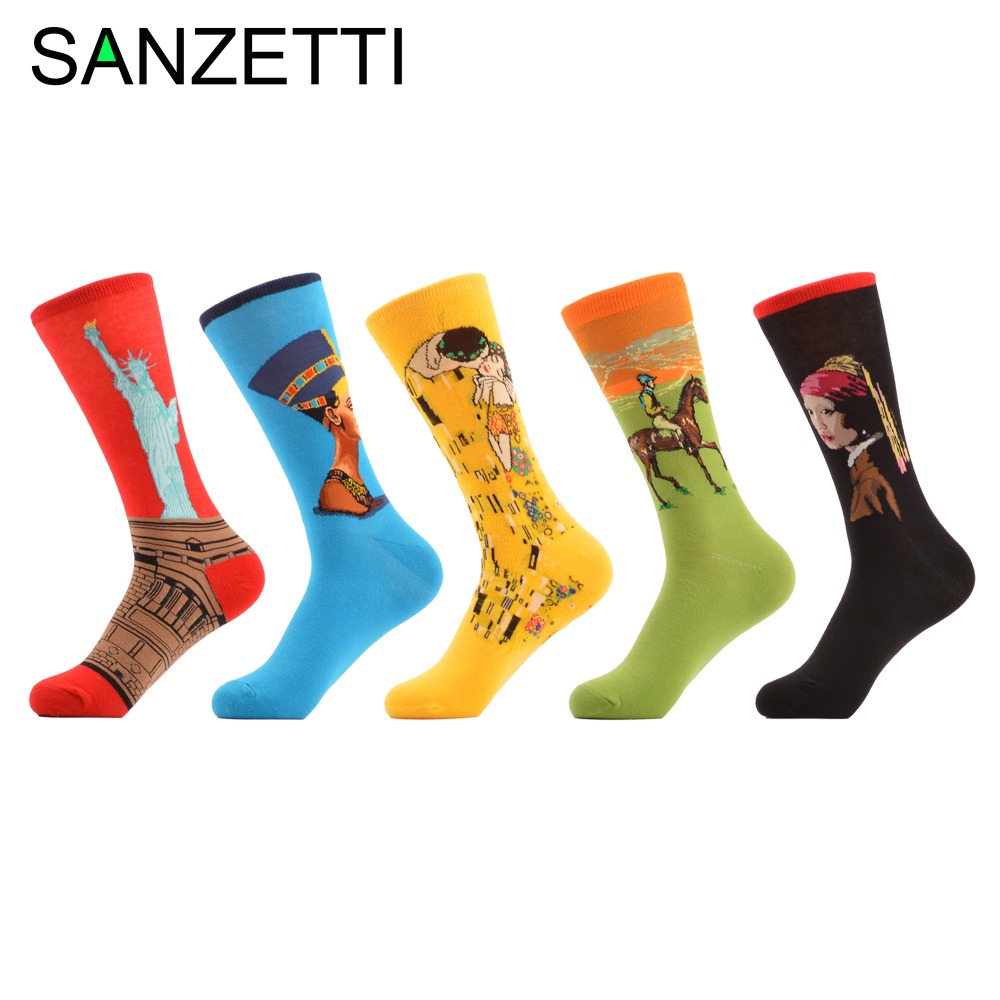SANZETTI 5 pairs/lot Mens Colorful Funny Socks Combed Cotton Crew Socks Oil Painting Casual Winter Casual Dress Socks