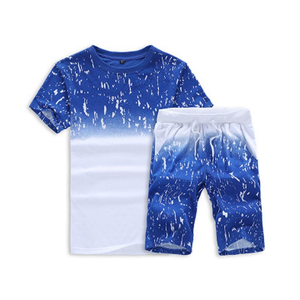 Herren-sets Clever Männer Sommer Kurzarm Gradienten Druck Trainingsanzug Sport Anzug T-shirts Top T Shorts Hosen Sets