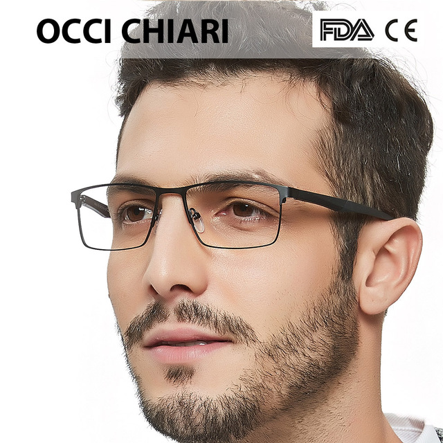 04c8aaafdd OCCI CHIARI 2018 Fashion Brand Men Patchwork Novel Design Rectangle Eye  Glasses Clear Lens Optical Frames Spectacles W-CERIONI