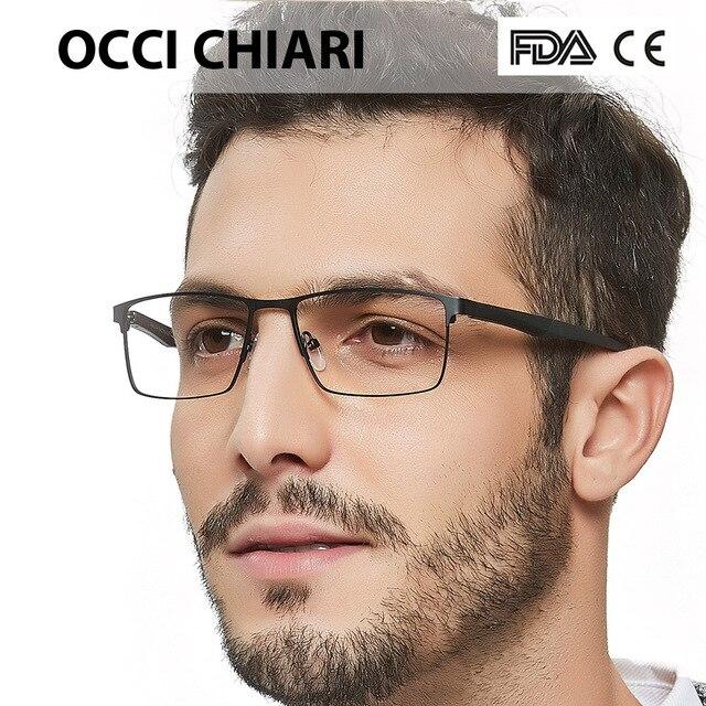 OCCI CHIARI 2018 אופנה מותג גברים טלאים רומן עיצוב מלבן עין משקפיים נקה עדשה אופטי מסגרות משקפיים W CERIONI
