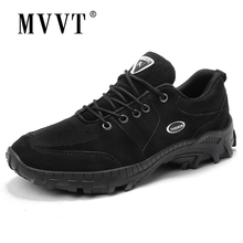 MVVT Suede Leather Shoes Men Casual Autumn Outdoor Walking Anti-Skidding Breathable Flats
